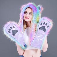Faux Fur Hood Zwierząt Kapelusz Słuchawki Klapy Ręczne Kieszenie 3 in1 Zwierząt Hapt Hat Ciepła Zwierząt Czapka Z Rękawic Szalik