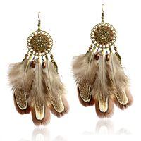 Tropfen Ohrringe Statement große Feder natürliche Frauen Farben Bronzecharme Traumfänger Ohrringe Vintage-Schmuck Ohrring