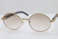 Envío gratis 18k oro negro búfalo búfalo gafas hombres 7550178 gafas de sol redonda de metal al por mayor C decoración de oro marco de vidrio: 55-22-135mm
