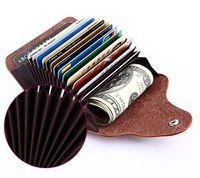 유니섹스 심플 패션 대용량 오르간 카드 가방, 정품 가죽 신용 카드 신분증 소지자, 캔디 컬러 한국어 미니 지갑