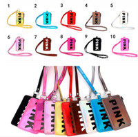 Pink Card Holder With Lanyard 10 Colors pu Pink letter Phone...