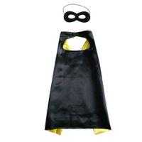 26 inç Düz çift katmanlı pelerin ile maske seti süper kahraman cosplay pelerin fantezi elbise topu 6 renkler seçim