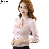 Babados Collar Blusa Casual Mulheres Feminino Rosa Elegante Camisa Slim Fit Senhoras Tops Escritório Senhoras OL Novo Estilo de Moda desgaste do trabalho