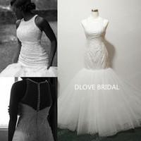 Delikatny haftowany koronki Vestido De Noivas Suknia ślubna Real Photo High Neck Bez Rękawów Suknia Ślubna Wysokiej Jakości Factory Custom