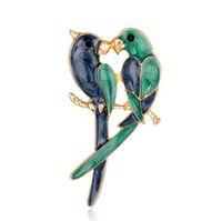 Spille doppi uccelli per le donne 2018 moda smalto coppia devoto spilla due pappagalli spilla gioielli animali