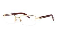 Nuovi occhiali da sole di marca per gli uomini corno di bufalo occhiali semi-senza montatura in oro argento con montatura in legno occhiali da sole in bambù con lunetta con astuccio rosso