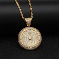 Sun flower pingente de colar para homens cheio de diamantes cúbicos de  zircônia hiphop corrente de 260adae950