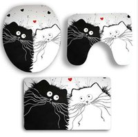 Polyester Love Two Cats Bath Mats 3PCS Set Toilet Lid Cover ...