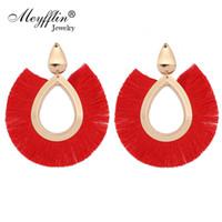 Meyfflin Silk Tassel Drop Boucles D'oreilles Pour Femmes Bohème Géométrique Ovale Frangée Boucle D'Oreille Bijoux Or Couleur Dangle Brincos