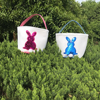 Easter Baskets Sequins Bunny Buckets Cavas Rabbit Gift Organ...