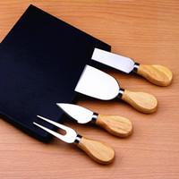 4 قطع سكين الجبن مجموعة مع البلوط الخشب مقبض المقاوم للصدأ الجبن القطاعة الجبن القاطع سكاكين المطبخ أدوات الطبخ مجموعة lin4268