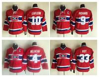 Juventude Kids CCM Montreal Canadiens Jerseys 4 Jean Beliveau 9 Maurice Richard 10 Guy Lafleur 33 Patrick Roy Meninos Retro Hóquei Jerseys