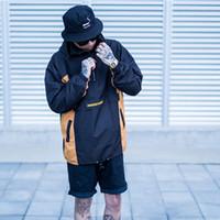 Nuova giacca da uomo patchwork color block off-spalla Nuova pullover moda mezza cerniera anteriore Giacche hip hop uomo 2 colori