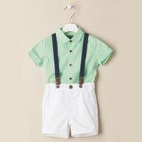 Nouvel été bébé garçons ensemble enfants manches courtes Tops Shirt + jarretelles shorts 2 pcs ensemble enfants tenues vêtements costume W096
