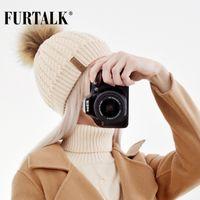 Furtalk ريال فوكس الفراء قبعة كبيرة الراكون بوم بوم قبعة محبوك قبعة قبعات الربيع الخريف النساء الشتاء القبعات للفتيات D18110102