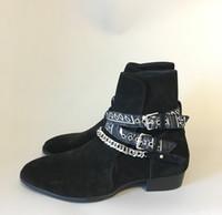 أعلى جودة اليدوية أسود A R Harry slp England اللباس الجينز الرجال تشيلسي الأحذية جلد طبيعي الشريط مشبك حزام الأحذية المصنوعة يدويا الفاخرة