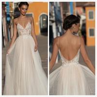 2020 Gali Karten Vestidos de novia Una línea Spaghetti Sweep Train Encaje Aplique Beads Beach Vestido de novia Ilusión barata Bata de novia más tamaño