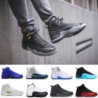 New 12 Bordeaux Dark Grey wool basketball shoes ovo white Fl...