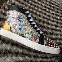 New 2018 Men Women Glitter Printed With Spikes Toe High Top ...