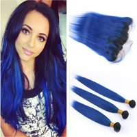 #1B Blue Dark Root Ombre Brazilian Virgin Human Hair Weaves ...