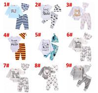 2018 Newborn Clothing Sets48 stili Ragazze Ragazzo Baby Bear Pagliaccetti Tute Pantaloni Cappello 3 pz Bambino Venuta A Casa Outfits Set abbigliamento per bambini BY0211