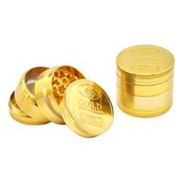 Molinillo de hierba de oro 40 mm 4 piezas ABRADER Aleación Humo Metal Fumar Herbal Tobacco Grinders Herramientas de galleta
