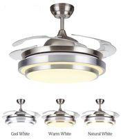 Современный светодиодный потолок невидимый вентилятор огни лампы время дистанционного управления частота преобразования двигателя свет подвесной светильник освещение пульт дистанционного управления
