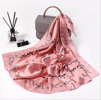 Foulard en soie hijab bandana 2018 châle fashiona alphabet serviettes carrées animal rayé impressions géométriques femmes 70 * 70cm