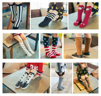 39 cor Unisex Bebê Menina Menino dos desenhos animados joelho meias altas cat fox bandeira americana meias Polainas Crianças Meias Kawaii em estoque