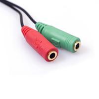 3.5mm100pcs / lot 잭 헤드폰 이어폰 용 스테레오 오디오 Y- 분배기 2 암 1 케이블 어댑터 마이크 플러그