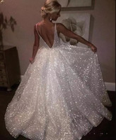 Sparkle Lantejoulas Branco Longo Vestidos de Noite 2018 profundo pescoço Vestido sexy Baixo Vestido de longa noite Vestidos baratos Pageant vestidos de baile BA7466
