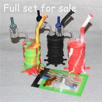 mini olio di silicone bong + quarzo termico banger + glass carb cap + silicone stuoie di cottura dab cera strumento silicone tamburo bong silicone nettare