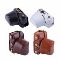 Freeshipping 4 colores Bolso de la caja de la cámara de cuero PU para la lente de la cámara Sony A5000 / A5100 / NEX3N y 16-50mm