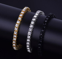 5MM Iced Out 1 Row Rhinestones Bracelet Men' s Hip Hop S...