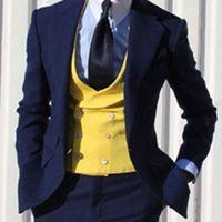 Slim Fit Royal Blue Groom Tuxedos Hombres Trajes formales Hombres de negocios Wear Wedding Prom Dinner Trajes por encargo (Jacket + Pants + Tie + Vest) NO; 727