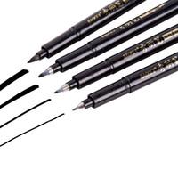 جودة باوك 4pcs لون التوقيع الأسود قلم الخط Pen Calligraphy Pen Multi Function Writing Art Markers Office School Art Supplies