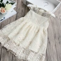 Girls lace flowers embroidere dress summer children lace hol...
