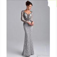 플러스 크기 어머니의 공식 드레스 2019 그레이 긴 소매 인어 신부 레이스 드레스의 어머니가 사우디 아랍어 긴 저녁 파티 가운
