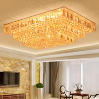 Lampadari di cristallo di lusso di lusso rettangolo di alta classe K9 lampadario di cristallo hotel hall soggiorno villa led lampadari a sospensione con lampadine