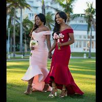 오프 - 어깨 짧은 들러리 드레스 2019 새로운 간단한 스타일 레드 핑크 높은 낮은 새틴 인어 공주 웨딩 무도회 이브닝 가운 사용자 정의 만든 B121
