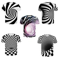 M- 4XL Black And White Vertigo Hypnotic Printing T Shirt Unis...