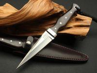 Canada Randy Espadon tactique droite Couteau AUS-10A Lame d'ébène Poignée extérieure Autodéfense à lame fixe Camping EDC Outils Livraison gratuite