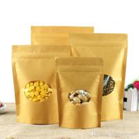 Bolso de pie de papel kraft marrón con ventana de almacenamiento de alimentos redondo paquete de café reciclable bolsas de embalaje de bolsas de bolsas de bocadillo bolsas de cierre de cremallera