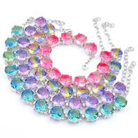 5 pcs lot de haute qualité cadeau de vacances de haute qualité Gems de tourmaline colorée ronde 925 Bracelet en argent Bracelet de zircon pour femmes Banglique de Noël de Noël GI