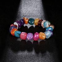 2018 Hot Lava Rock Braccialetto di pietra naturale colorato braccialetto elastico arcobaleno perla yoga Bracciale in rilievo intrecciato testa
