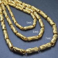 18K GOLD يملأ رجل WOMEN'S FINISH الصلبة الكوبي LINK عقد سلسلة 55CM L N299
