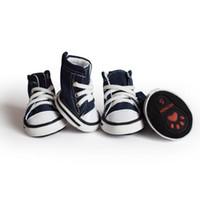 4 adet Denim Pet Köpek Ayakkabı Kaymaz Su Geçirmez Spor Sneakers Küçük Kediler Için Booties Nefes Patik Köpekler Köpek