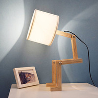 Loft Robot Shape Wooden Table Lamp ClothFolding Changeable A...