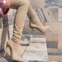الشتاء بوتاس موهير البيج الأسود تمتد الجلد المدبوغ الفخذ أحذية عالية مثير أشار تو الفخذ أحذية عالية الكعب العالي النساء الأحذية القط المشي السيدات الأحذية