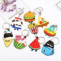 Tier auf Ballon-Karikatur Keychain Eisbär-Hund und Nahrungsmittelschlüsselring Pizza-Hamburger-Schlüsselketten-Taschen-Auto Keychain